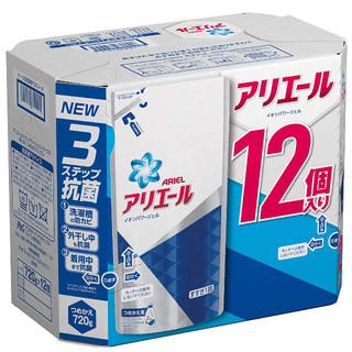 P&G - アリエール 洗濯洗剤 液体 イオンパワージェル 詰め替え 12個