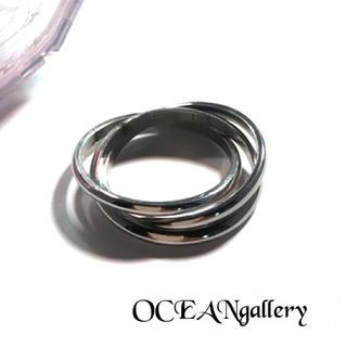 送料無料 9号 シルバー サージカルステンレス 三連リング指輪 トリニティリング(リング(指輪))