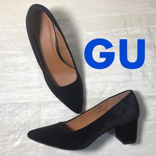 GU - ⿴⿻⿸ GU Black ベロアチャンキーヒール -XL- ⿴⿻⿸
