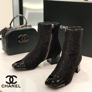シャネル(CHANEL)の1231 シャネル ラメ ショートブーツ 黒(ブーツ)