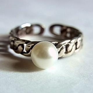 新品SVシルバー925リング指輪11号フェイクパール フリーサイズ調節ピンキー(リング(指輪))