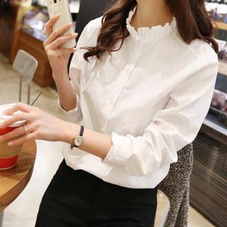 Lily Brown - 長袖襟フリルシャツ