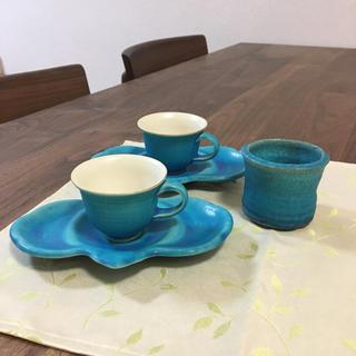 イッタラ(iittala)の専用です。定価16000円 沖縄 ギャラリーきや 青 カップ&ソーサー(グラス/カップ)