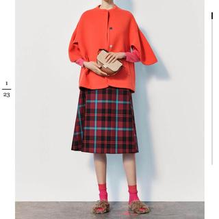 Drawer - ドゥロワー drawer チェック ウール スカート
