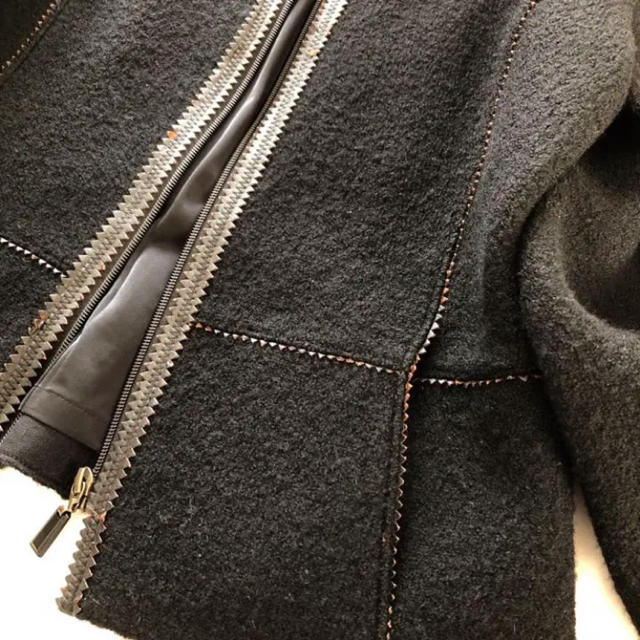 HANAE MORI(ハナエモリ)の【訳ありHANAE MORIハナエモリ】ウールシャギーショートコートジャケットL レディースのジャケット/アウター(ピーコート)の商品写真