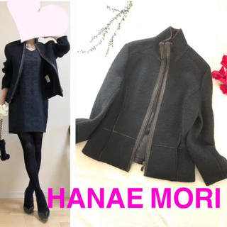 HANAE MORI - 【訳ありHANAE MORIハナエモリ】ウールシャギーショートコートジャケットL