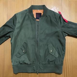 シマムラ(しまむら)のMA_1 ジャケット 緑 グレーのフード付き(ブルゾン)
