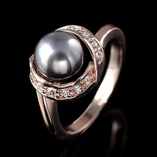 AAAランク ダイヤモンドcz 黒真珠 ブラックパール リング 指輪(リング(指輪))