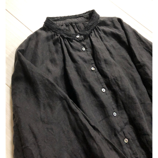 nest Robe - ネストローブ リネンレース襟ギャザーワンピース インクブラック used 美品