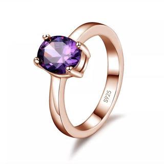 AAAランク アメジスト ダイヤモンドcz 15号 リング 指輪 ピンクゴールド(リング(指輪))