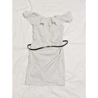 dazzy store - キャバ / ドレス / ベルト付きオフショルストライプ柄