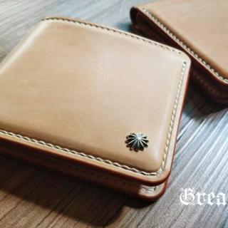 Grease 手縫いハンドメイドレザー ヌメ革 二つ折り財布 シルバーコンチョ(折り財布)