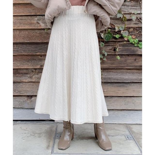 Lochie(ロキエ)のケーブルニットスカート レディースのスカート(ロングスカート)の商品写真
