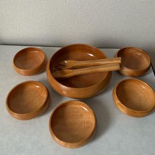 ⭐︎木のお皿 大皿+小皿5枚+大スプーン、フォークセット