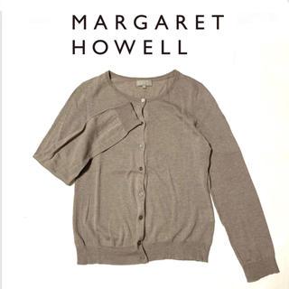 マーガレットハウエル(MARGARET HOWELL)の美品*マーガレットハウエル 定番コットンウールカーディガン ベージュ 2(カーディガン)