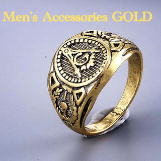 【豪華 新品】メンズ リング 指輪 ゴールド 金 フリーメイソン柄  (リング(指輪))