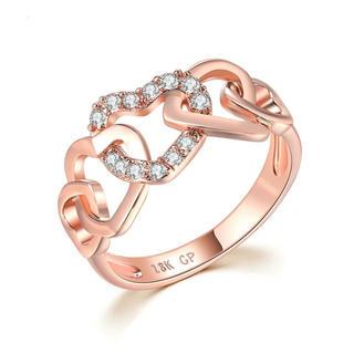 AAAランク ダイヤモンドcz ハート リング 指輪 ピンクゴールド(リング(指輪))