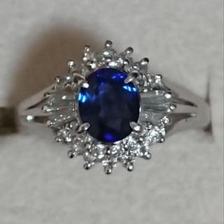 約1ct!大粒 サファイヤ ダイヤモンド プラチナ リング(リング(指輪))