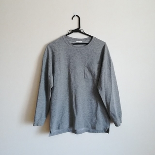 GU - 胸ポケット付きグレーロンT