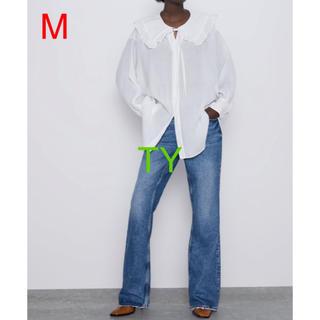 ザラ(ZARA)の完売品 ザラ M 丸襟 フリル ブラウス ピーターパン シャツ ワンピ スカート(シャツ/ブラウス(長袖/七分))