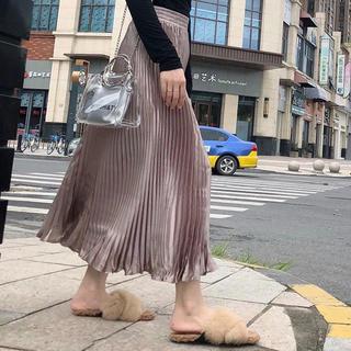 dholic - サテンプリーツロングスカート