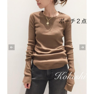 L'Appartement DEUXIEME CLASSE - 【GOOD GRIEF】RIB L/S TOP+ポーチ2点(ブラック&カモフラ)