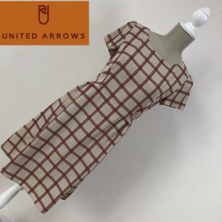 UNITED ARROWS - ユナイテッドアローズ チェック柄ワンピース ベージュ