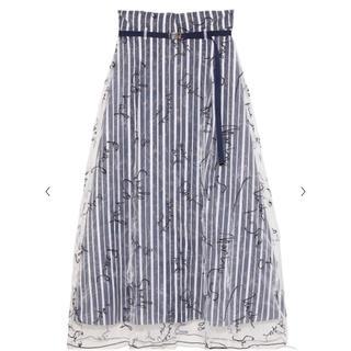ファーファー(fur fur)のfurfur メッセージ刺繍スカート(ロングスカート)