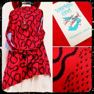 ヴィヴィアンウエストウッド(Vivienne Westwood)の新品・Worlds end限定・Squiggle shirt(Red×Navy)(カットソー(長袖/七分))