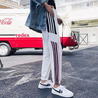 dholic - adidas風 ラインパンツ ジャージ スウェット スキニー ノルディ