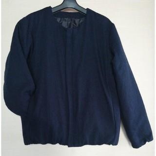 ムジルシリョウヒン(MUJI (無印良品))の無印良品 再生ウール ノーカラークルーネック ダウンブルゾン(紺色)(ダウンジャケット)