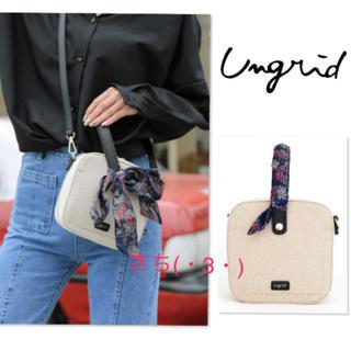 Ungrid - Ungrid♡スカーフ付キャンバス×クロコ風型押しスクエアバッグ