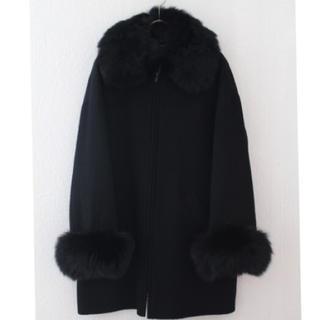 グレースコンチネンタル(GRACE CONTINENTAL)の【タグ付新品】ウール100%  FOXカラーリバーコート ブラック(毛皮/ファーコート)