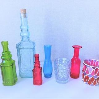 フランフラン(Francfranc)の■Francfranc■ガラスボトル・花瓶&キャンドルホルダー■7個セット■ (花瓶)