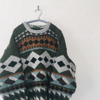 80s80年代90s90年代ビンテージビッグサイズ総柄セーターアイルランドニット