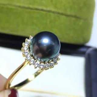 【高級】タヒチ黒蝶真珠 サンフラワーリング 8-9mm(リング(指輪))