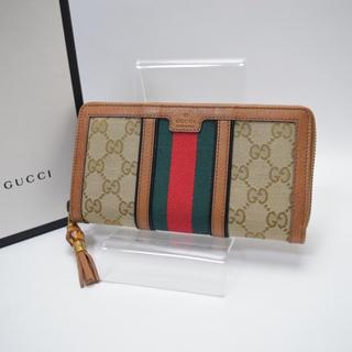 Gucci - 展示のみ未使用/送料無料/GUCCI/ラウンドファスナー長財布/シェリー/GG