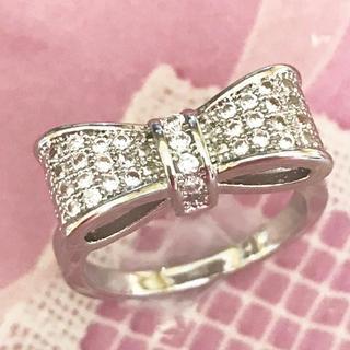 ★新品 大きいサイズ シルバー 925 リボンリング 指輪  ホワイトサファイア(リング(指輪))