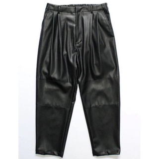 stein 19AW FAKE LEATHER WIDE TROUSERS L