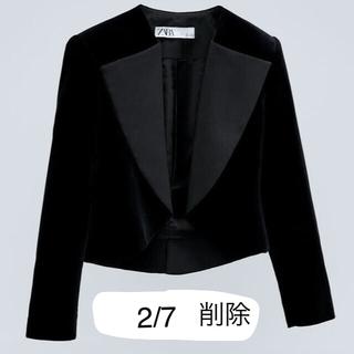 ZARA - コントラストラペル付きベルベットジャケット