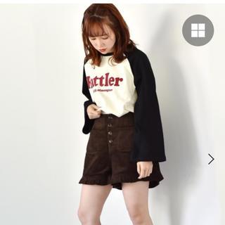 レトロガール(RETRO GIRL)のRETRO GIRL コーデュロイ裾フリルショートパンツ(ショートパンツ)