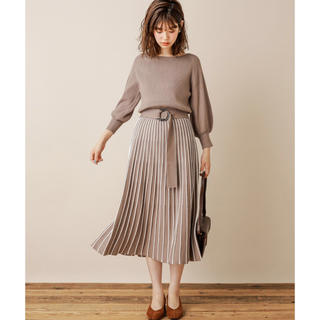 natural couture - 【natural  couture】配色ニットプリーツワンピース