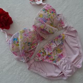 J070-1★花柄がきれい♪ブラ&ショーツセット(ピンク系)B75M (ブラ&ショーツセット)