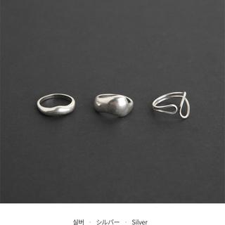 dholic - ◇ワイドリング3SET◇ シルバー マット デザインリング