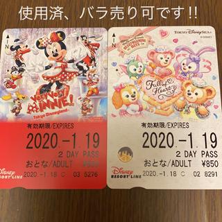 ディズニー(Disney)のディズニーリゾートライン フリーきっぷ 2枚セット(キャラクターグッズ)