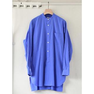 COMOLI - comoli 18ss バントカラーシャツ sax