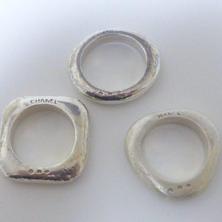 CHANEL - ☆シャネル SILVER925 ○△□3連シルバーリング 指輪(USED難)☆