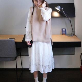 【ホワイト+アイボリーXL】 清楚系 ワンピース 男受けは間違いなし(ひざ丈ワンピース)