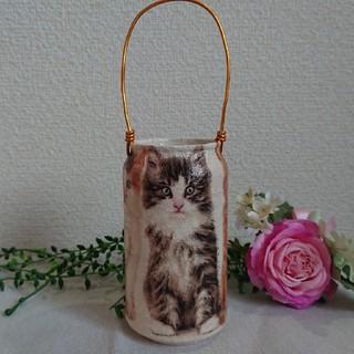 リメイク缶☺️三匹のしまトラ猫➰ハンドメイド リメ缶(プランター)
