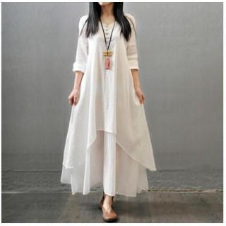 ホワイト XL リネン レディース ワンピース ロング丈 マキシ丈 ワンピ 麻(ロングワンピース/マキシワンピース)